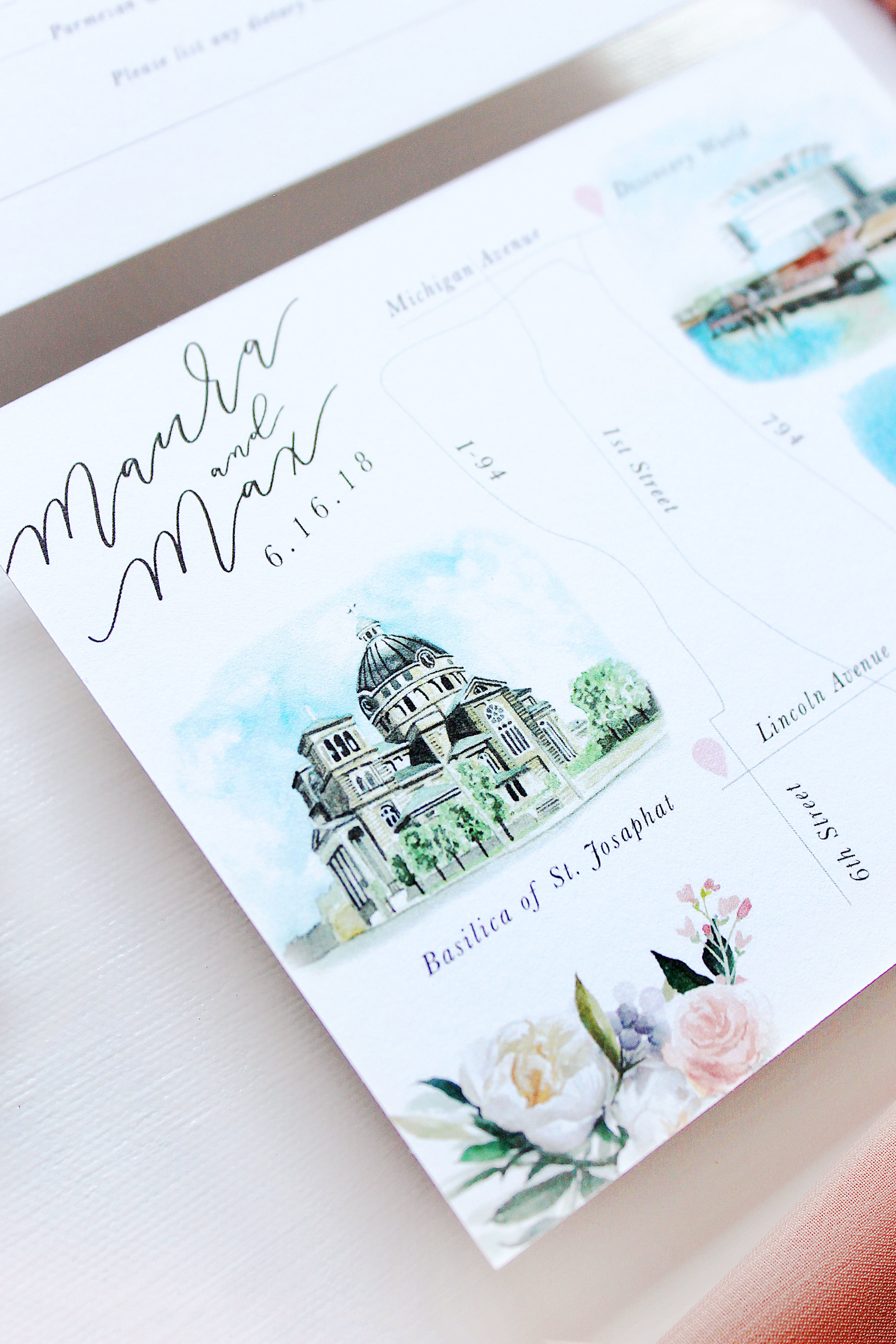 Details card with venue watercolor paintings
