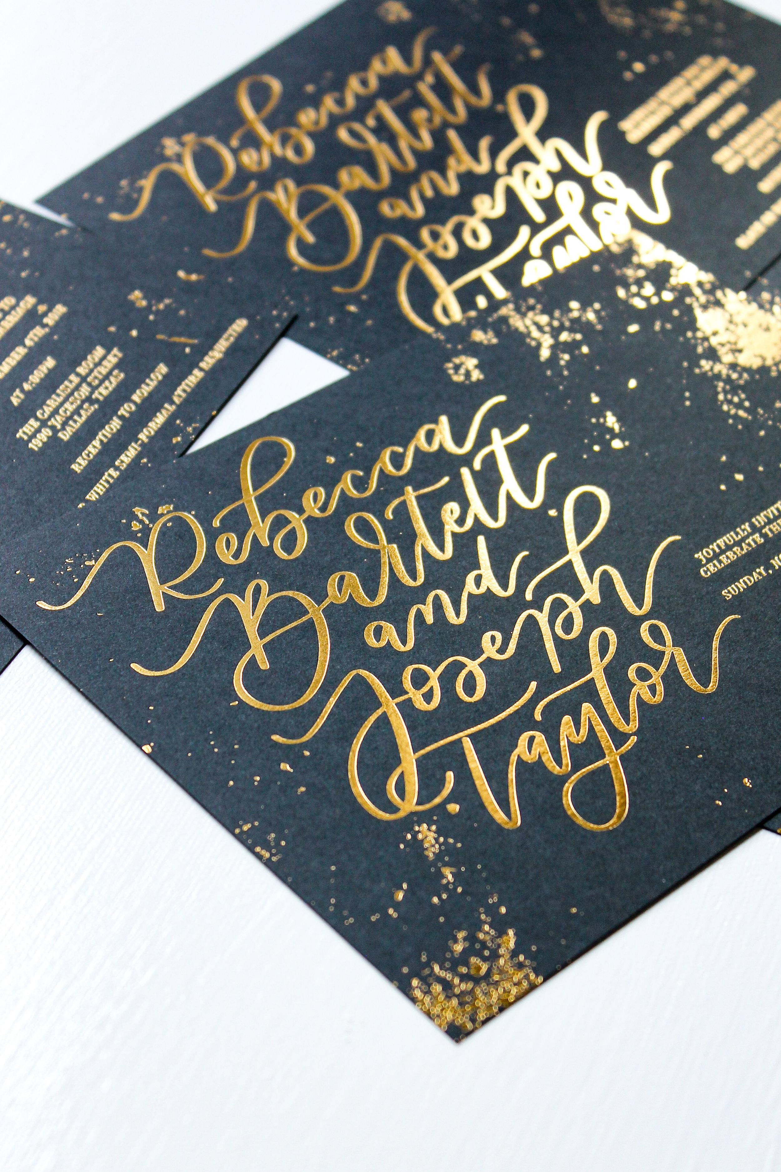 Gold Foil Calligraphy Invitation