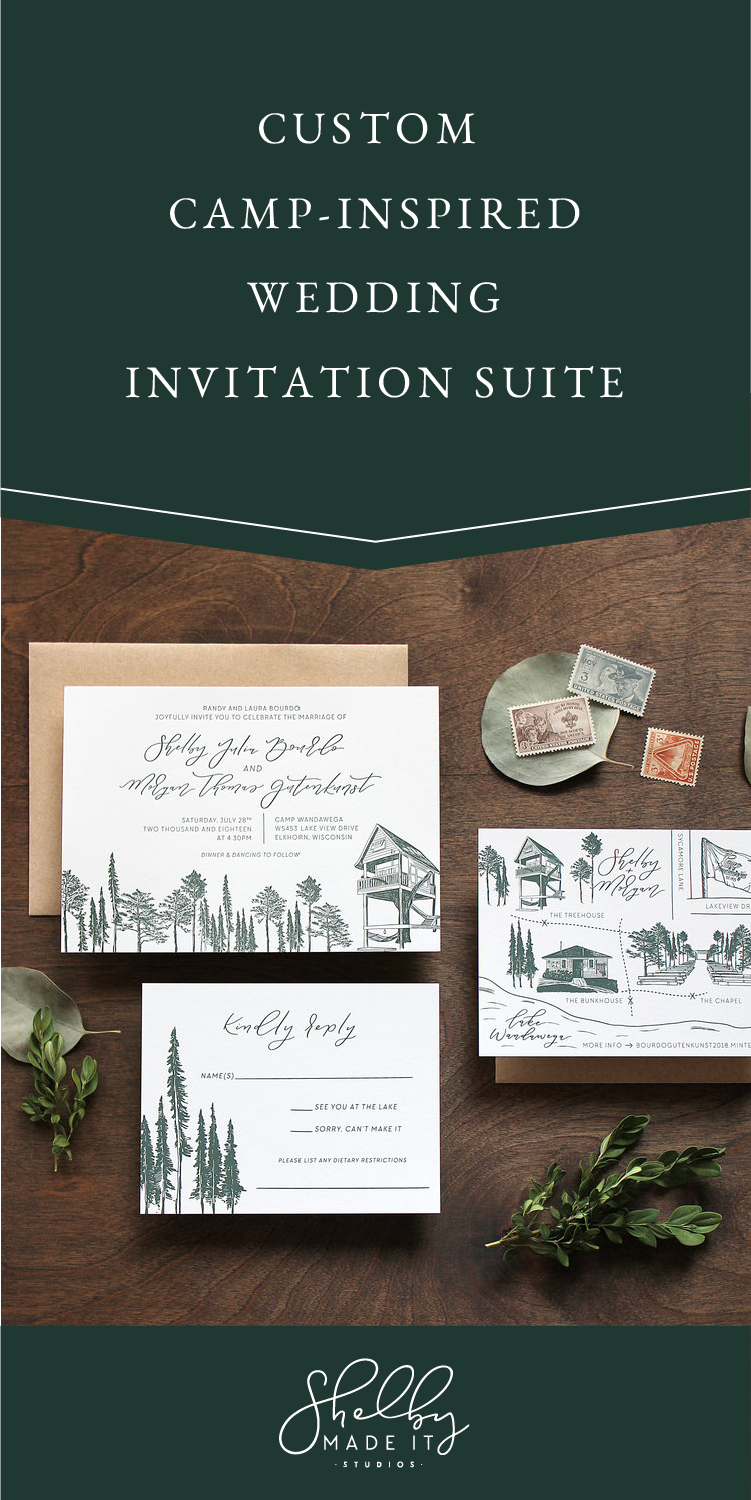 custom camp inspired wedding invitation suite