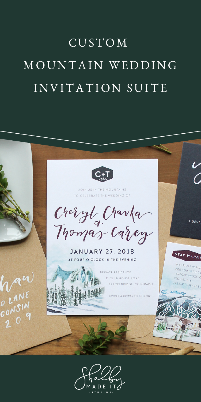 Custom Mountain Wedding Invitation Suite