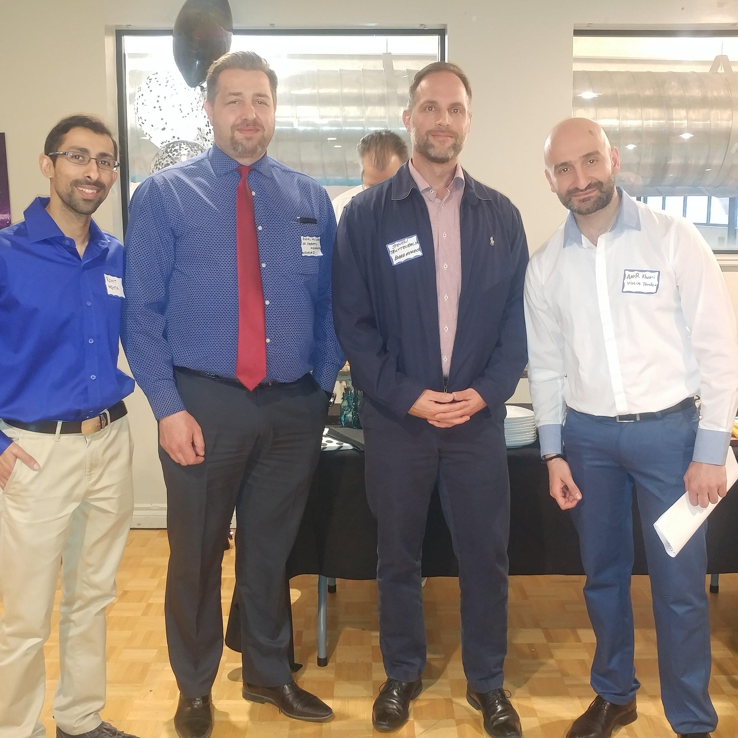 from left: Longtime Supporter Rohit Mehta, Towers manager Rafal Milicer, Board member Steve Truttenbach, MATT Teacher Amir Khouri