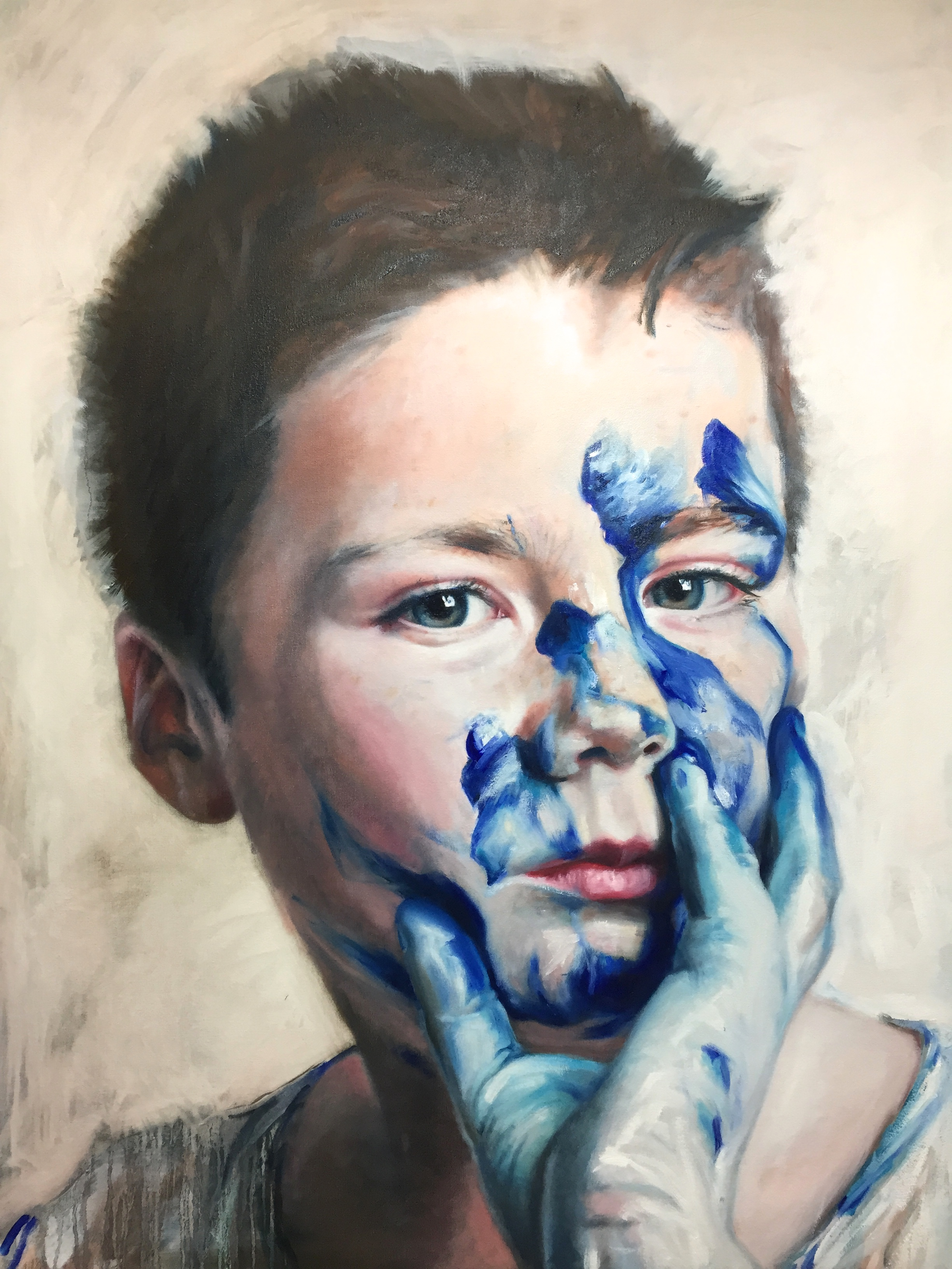 Chelsea Blue Paint Play, Oliver commission, 90x120cm, Oil on Canvas (SOLD)