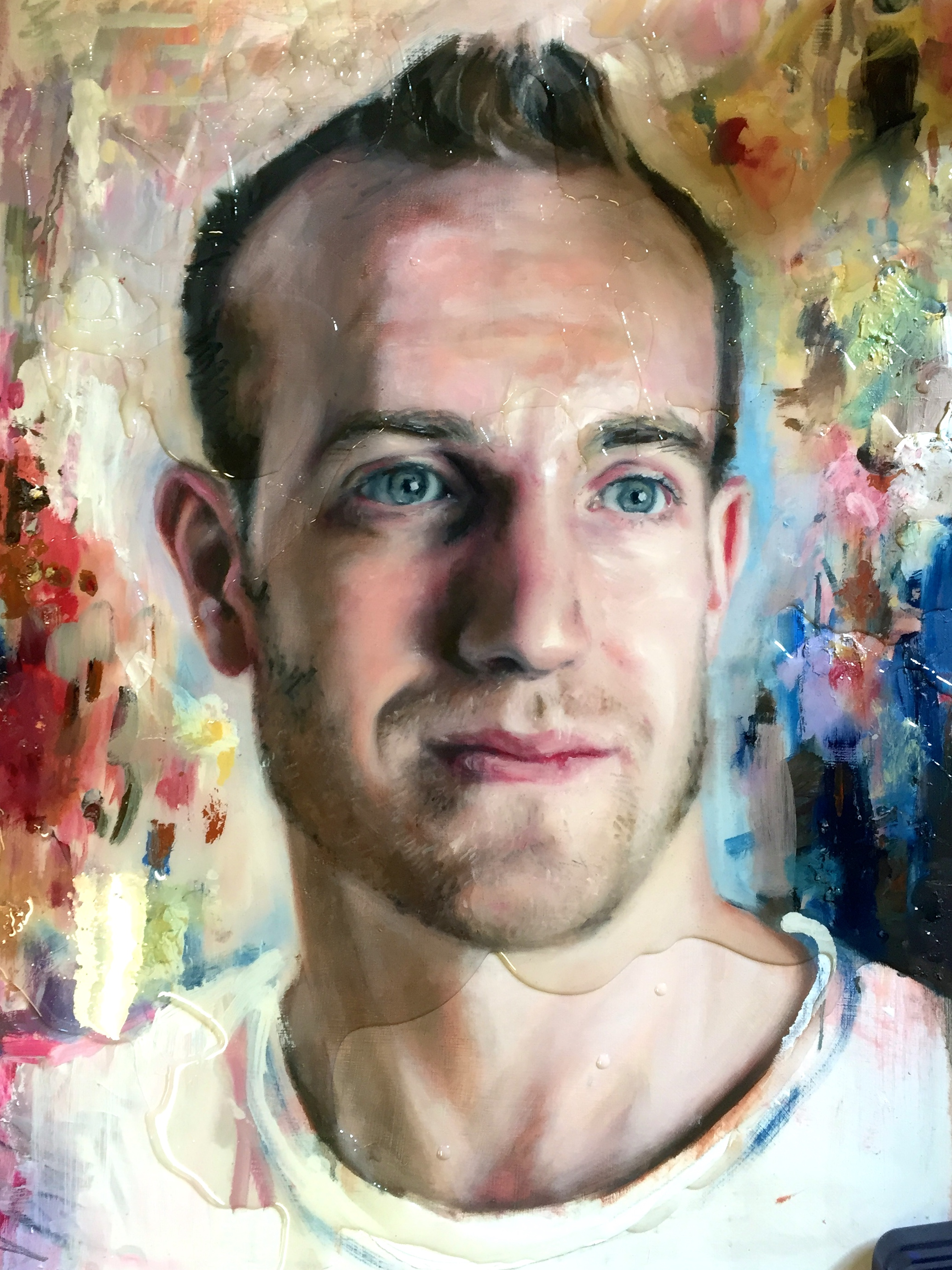 Dylan, Palette Portrait commission, 60x80cm, Oil and Resin on Board. (SOLD)