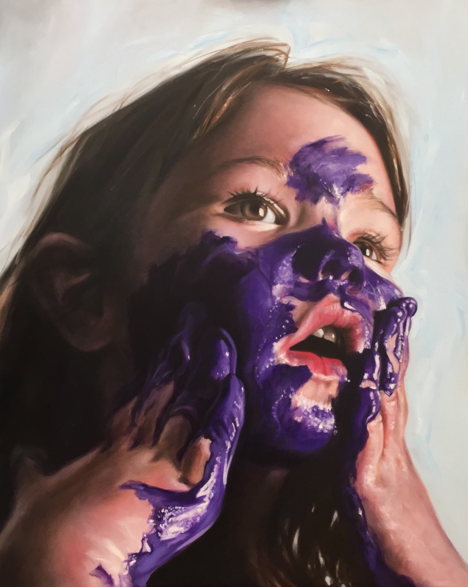 Purple Paint Play Commission 'Ellie' Oil on Canvas (SOLD)