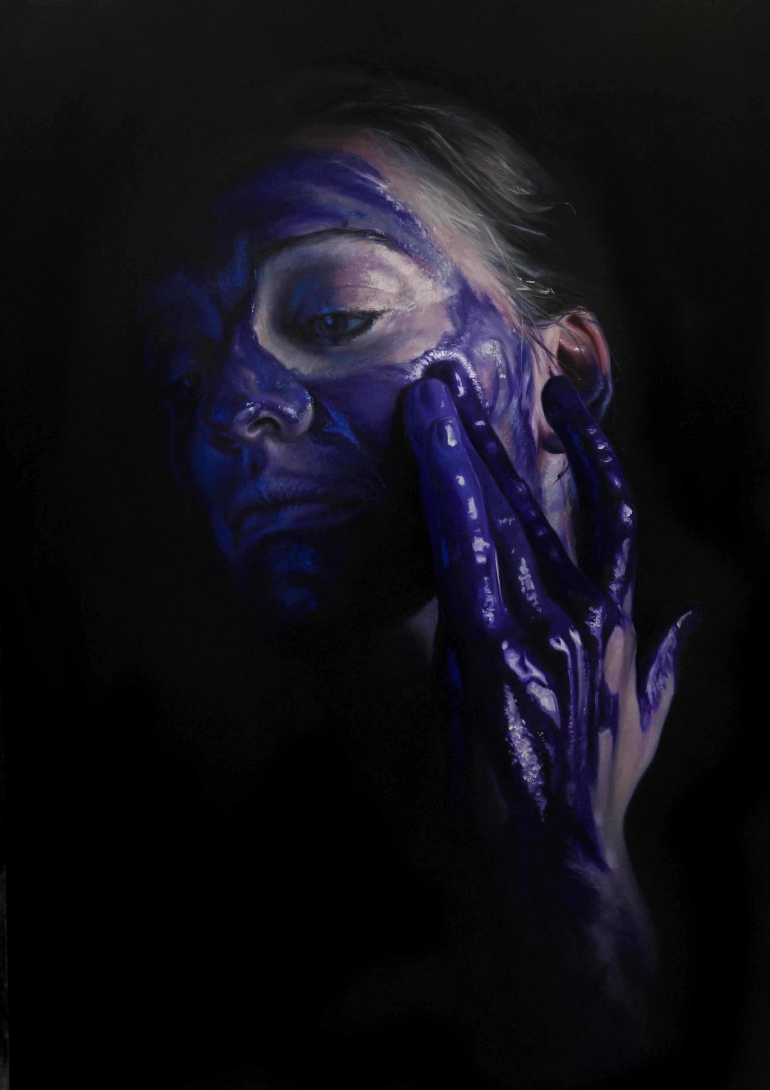 Dioxazine Purple Paint Play. 170x120cm, Oil on canvas