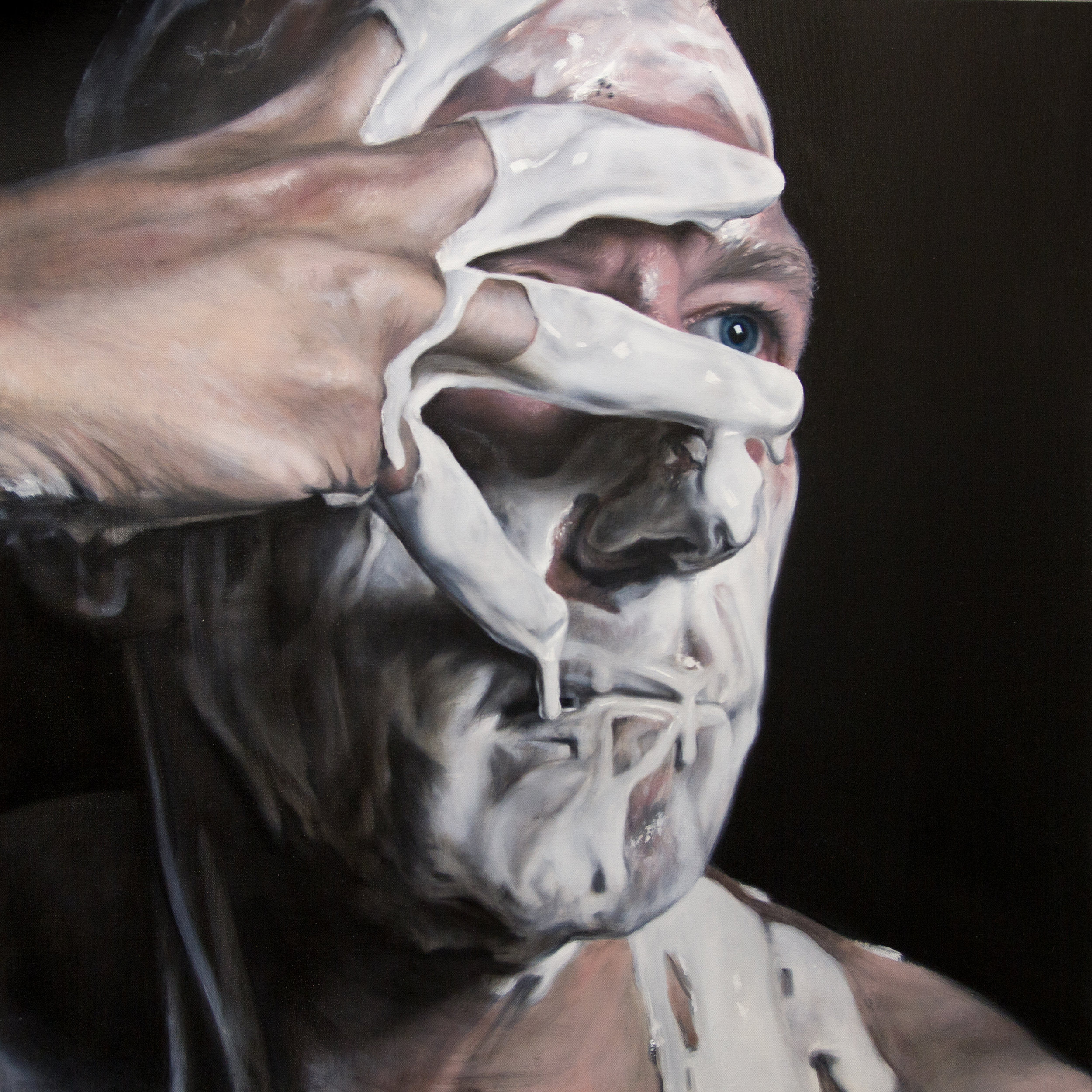 White Paint Play Commission. 90x90cm, Oil on Canvas (SOLD)