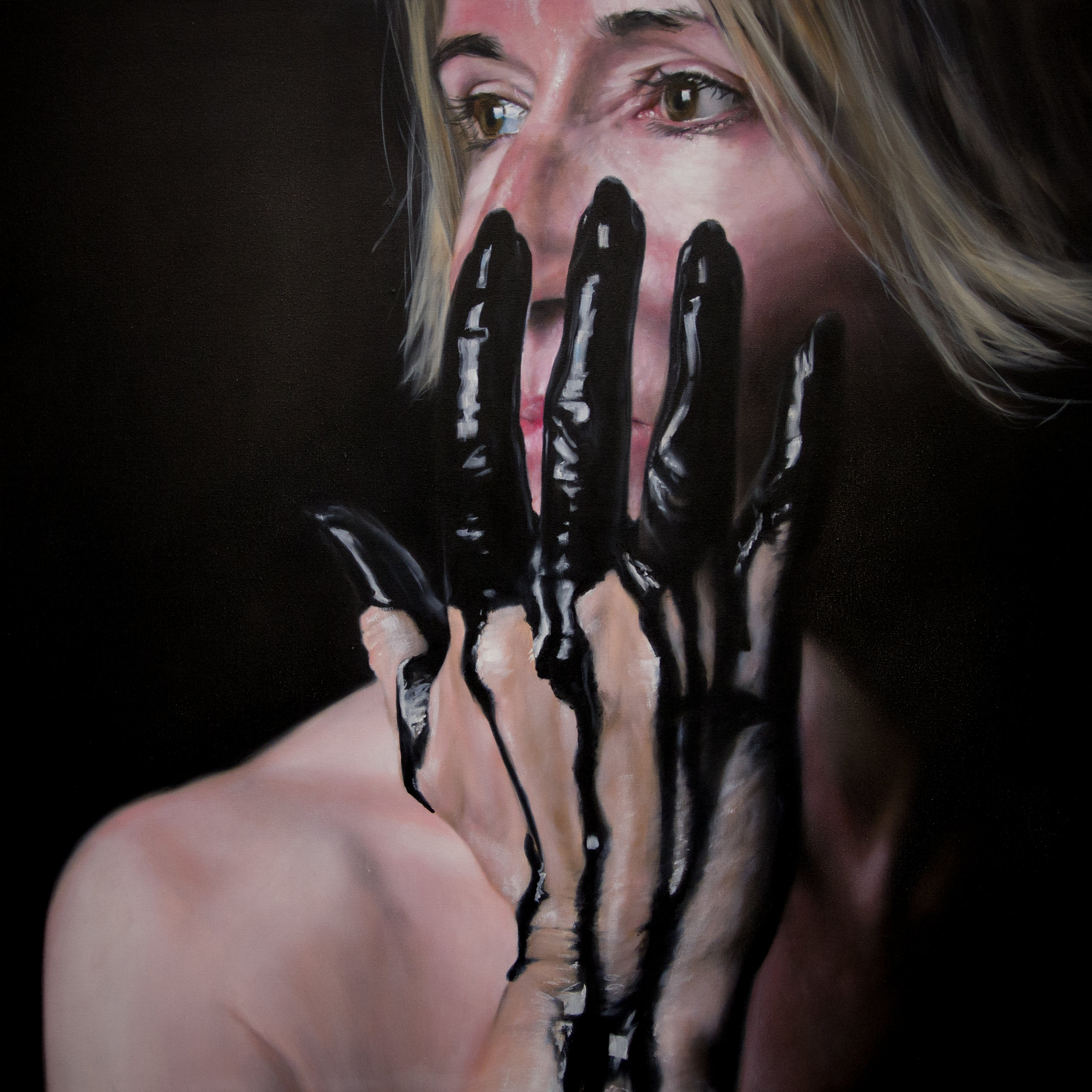 Black Paint Play Commission. 90x90cm, Oil on Canvas (SOLD)