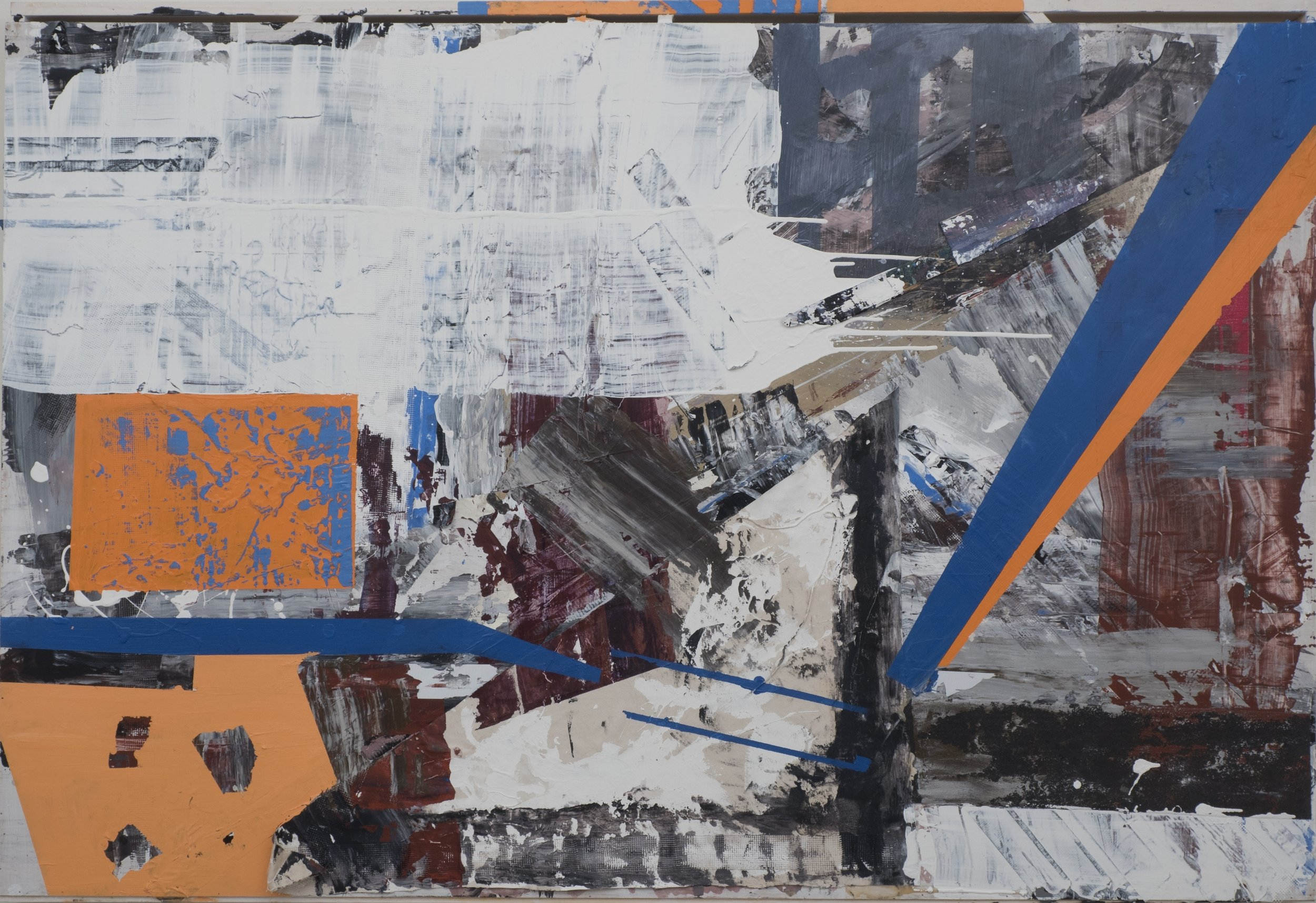 1/12, 2015, Josh Reyes, 4'x6', Acyrlic, Canvas, Tape, and Gesso on Wood Panel