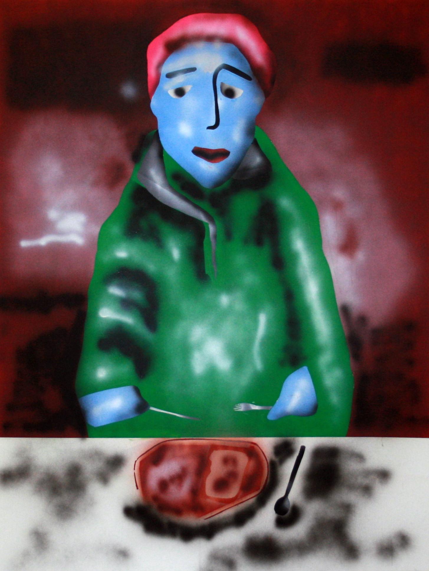 Dominic Dispirito (Slade School of Fine Art 2017 MA Graduate)  my names dominic and I like pie and mash,2017 acrylic on canvas