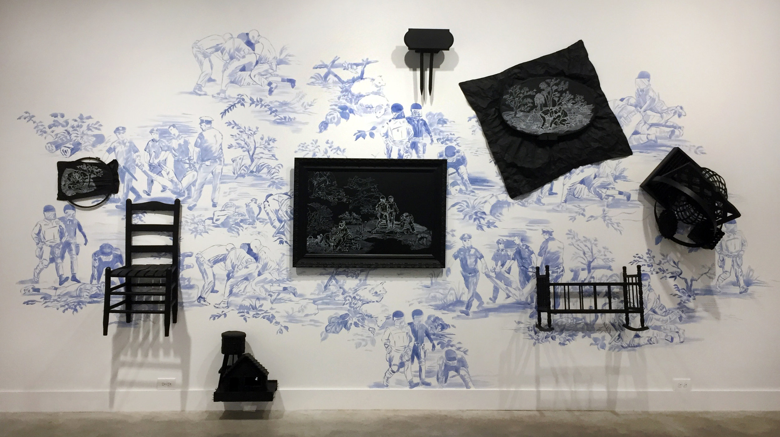 Hollis Hammonds,Domestic Brutality, 2017, acrylic paint on wall, painted objects &chalk marker,96 x 192 x 18 in.