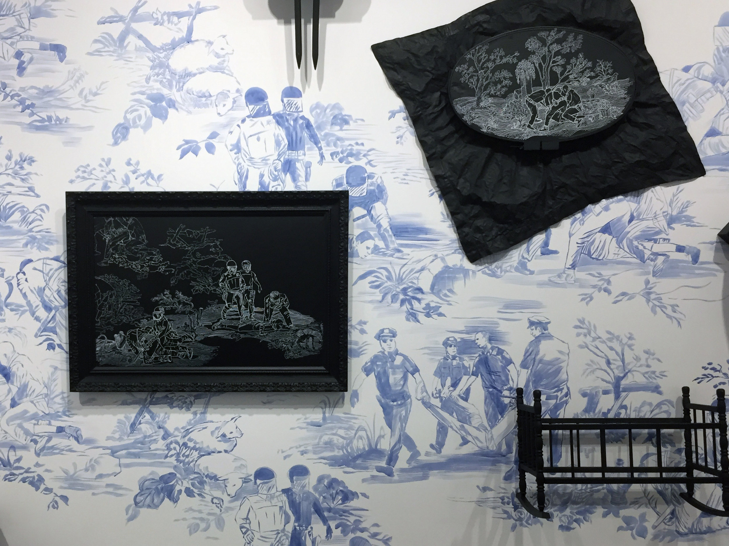 Hollis Hammonds,Domestic Brutality (detail), 2017, acrylic paint on wall, painted objects & chalk marker,96 x 192 x 18 in.