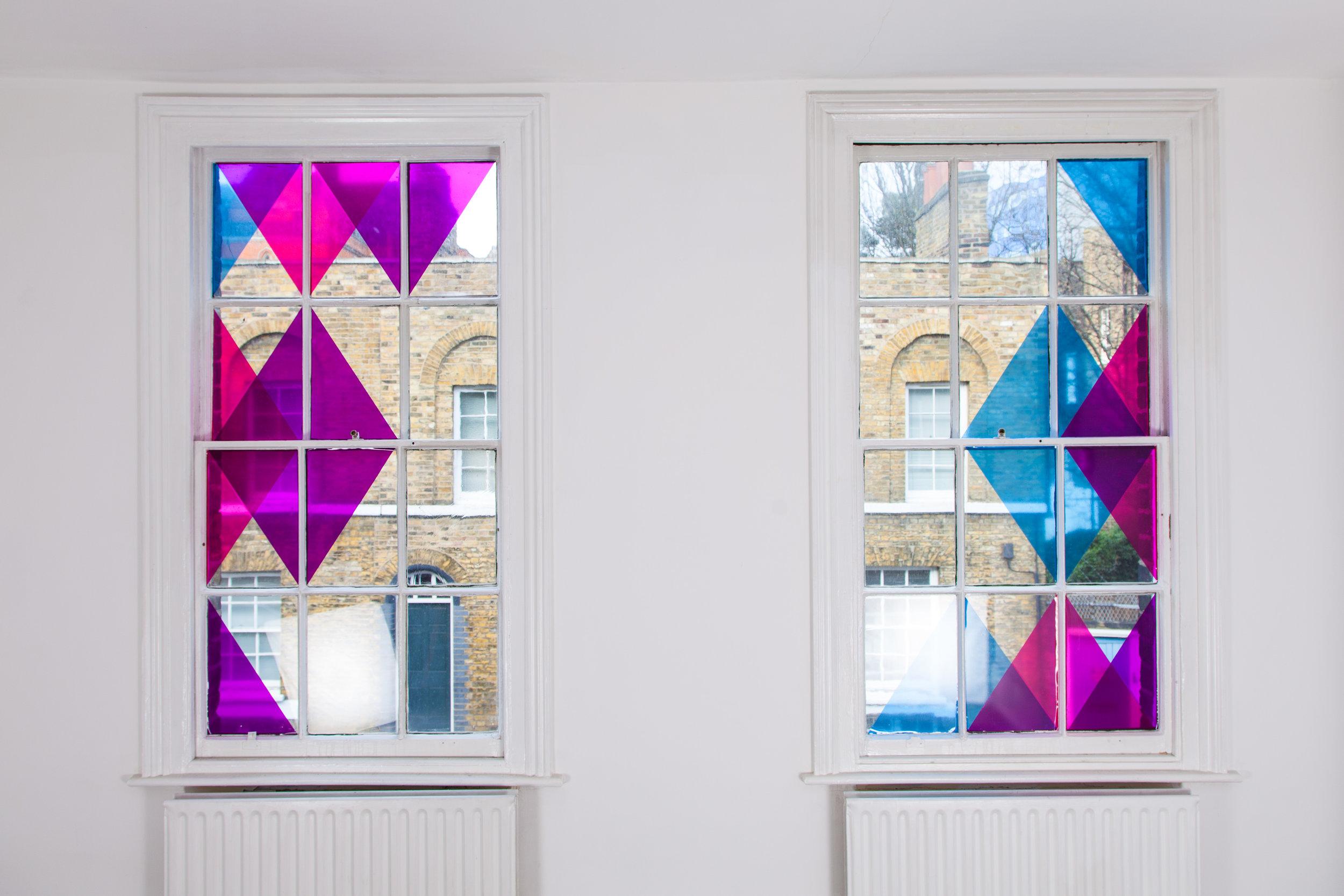 Fiona Grady, Mancini Moments, 2018, Hand cut vinyl window installation, variable dimensions. Photograph by Ekphrasis © dateagleart 2018.