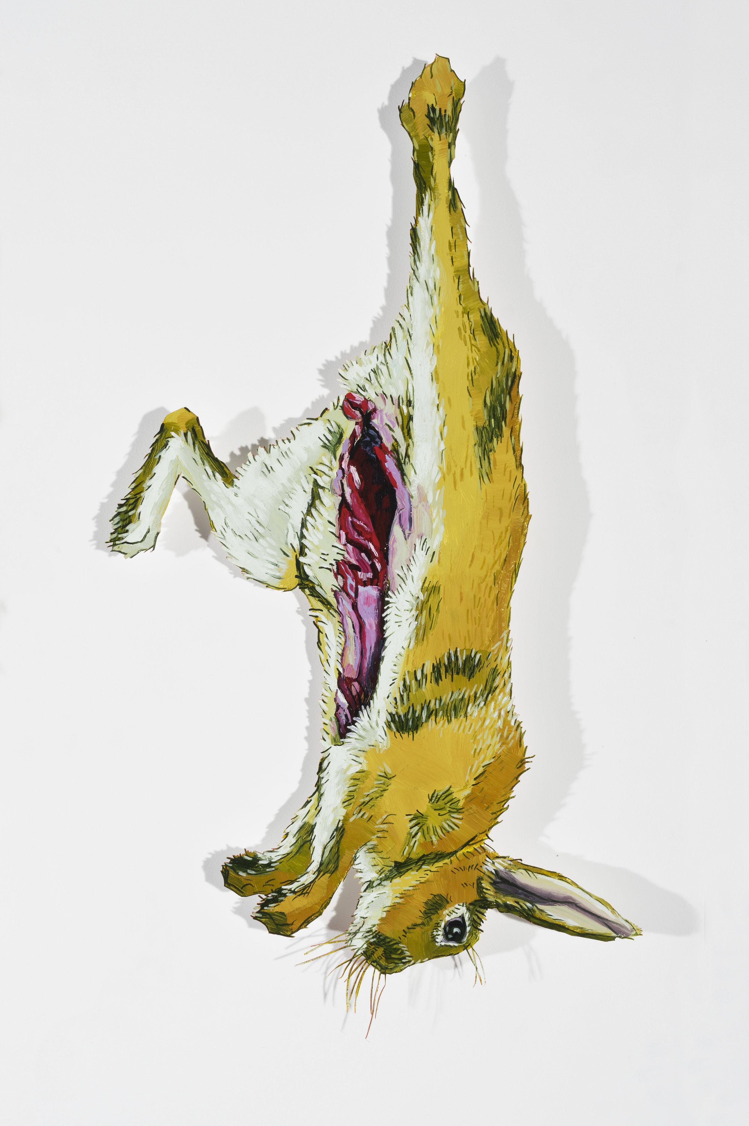 Dara Engler,Paper Doll Meat Locker, 2016 Oil on paper (Rabbit detail)