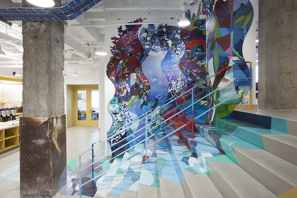 Katherine Tzu-Lan Mann Breaker, 2018 Acrylic, latex paint and collage on walls and stairs at Facebook Washington DC 5 x 30 x 30 ft.