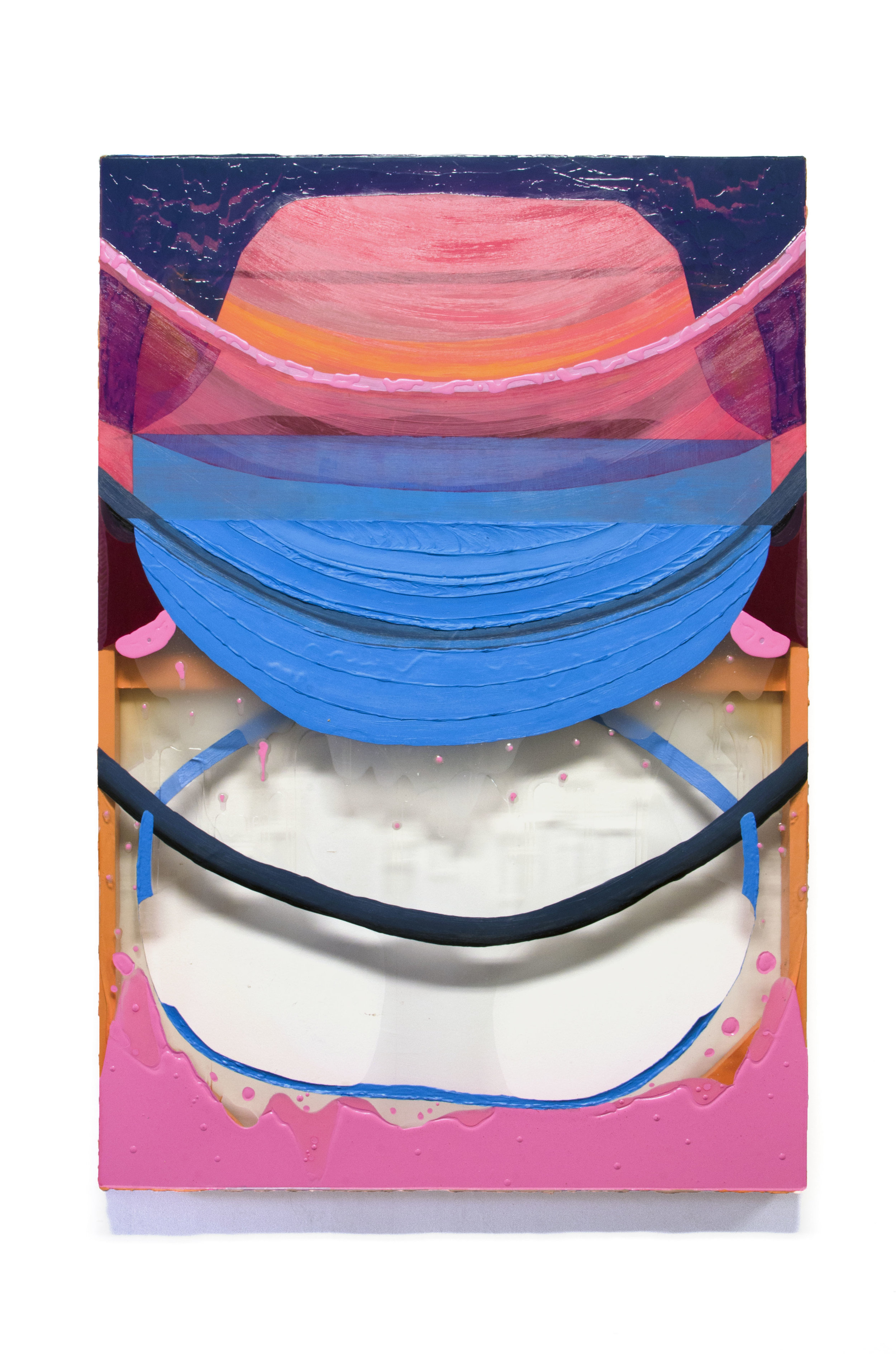 Elise Thompson Lap, 2018 Acrylic on watercolor paper, and clear vinyl 44 x 30 in.