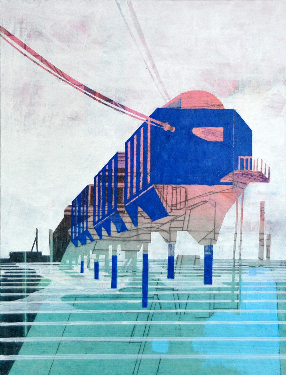 Susanne Wurlitzer Halley VI Station, 2019 Pencil, colored pencil, felt-tip pen, acrylic, on cardboard 25 x 19 cm