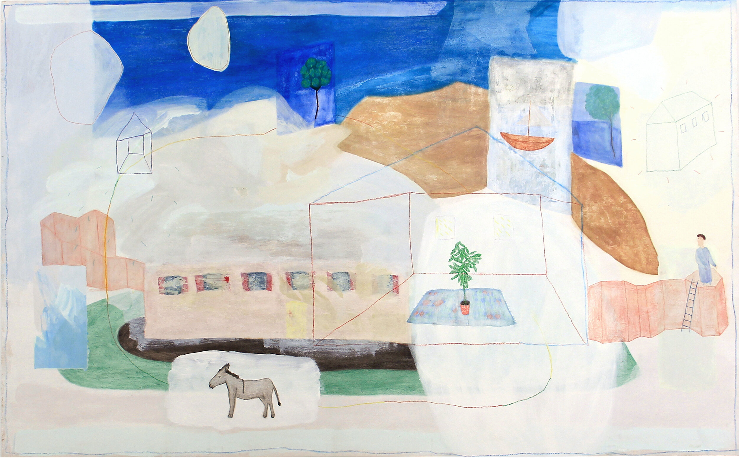 The donkey, the man and the house, 120x240cm, oil and pencil on pannel - copie.jpg