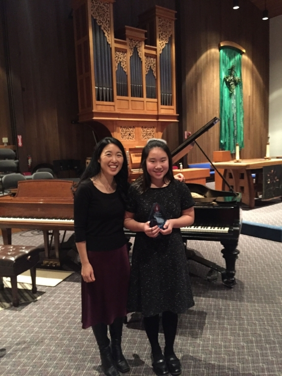 Chloe (1st prize), Advanced A division:  she performed Beethoven's 2nd Piano Concerto, 3rd movement.