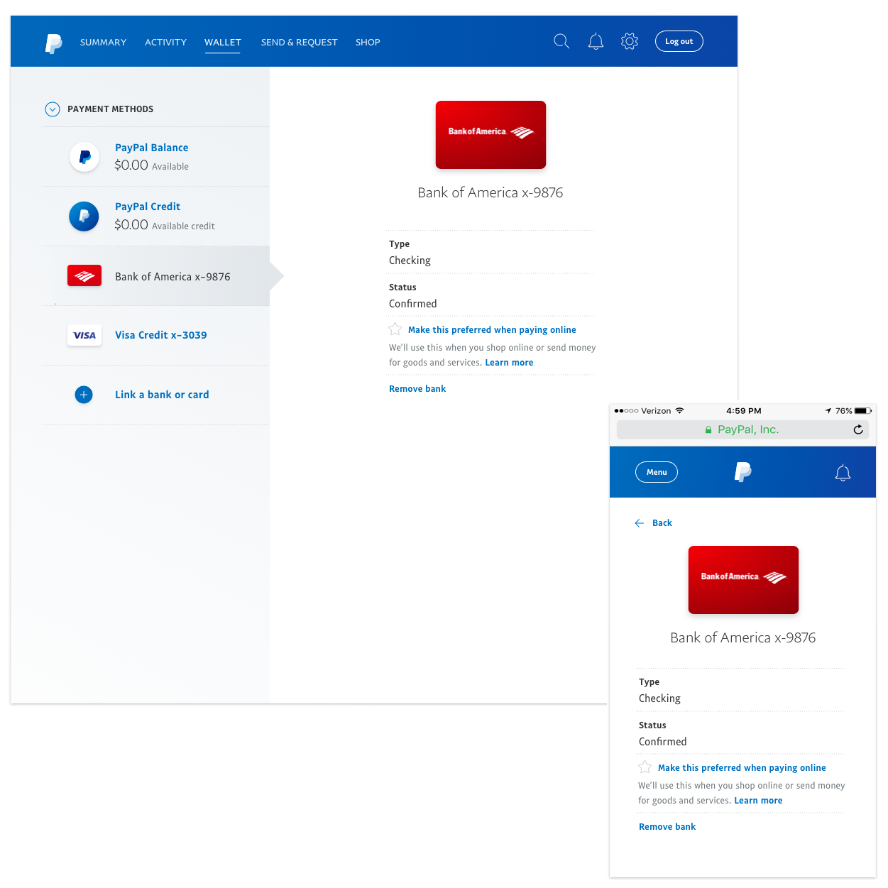 Redesigned PayPal wallet (see more in wallet redesign)