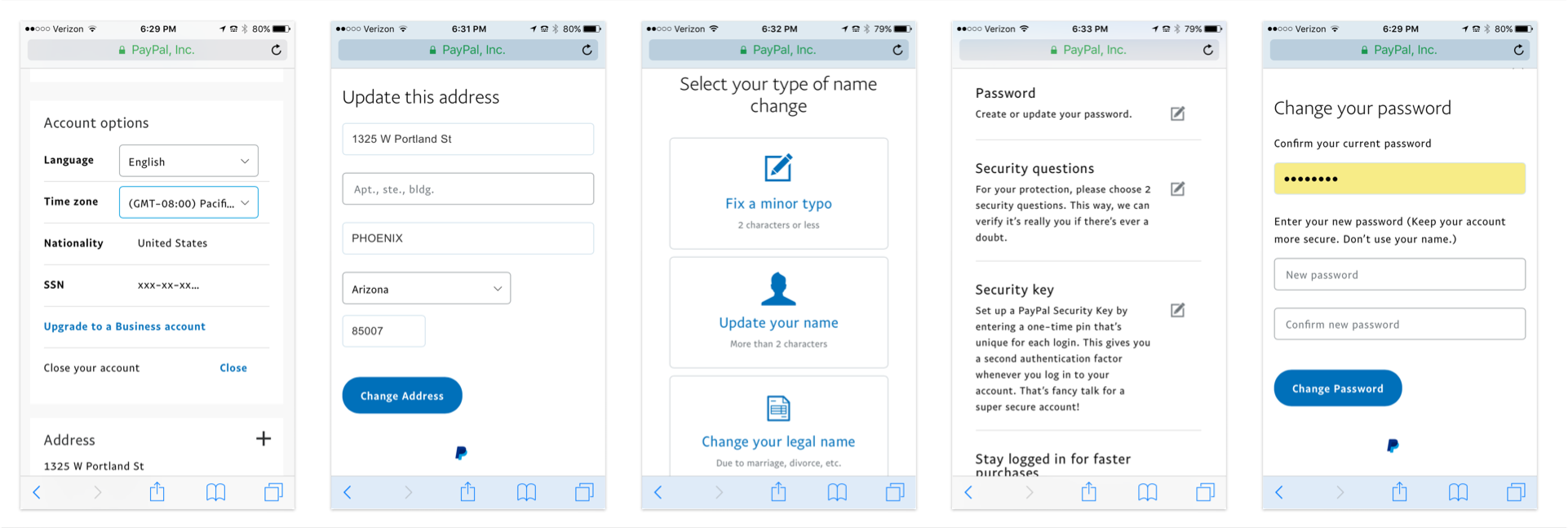 Some of the many settings including address, name change, and password change