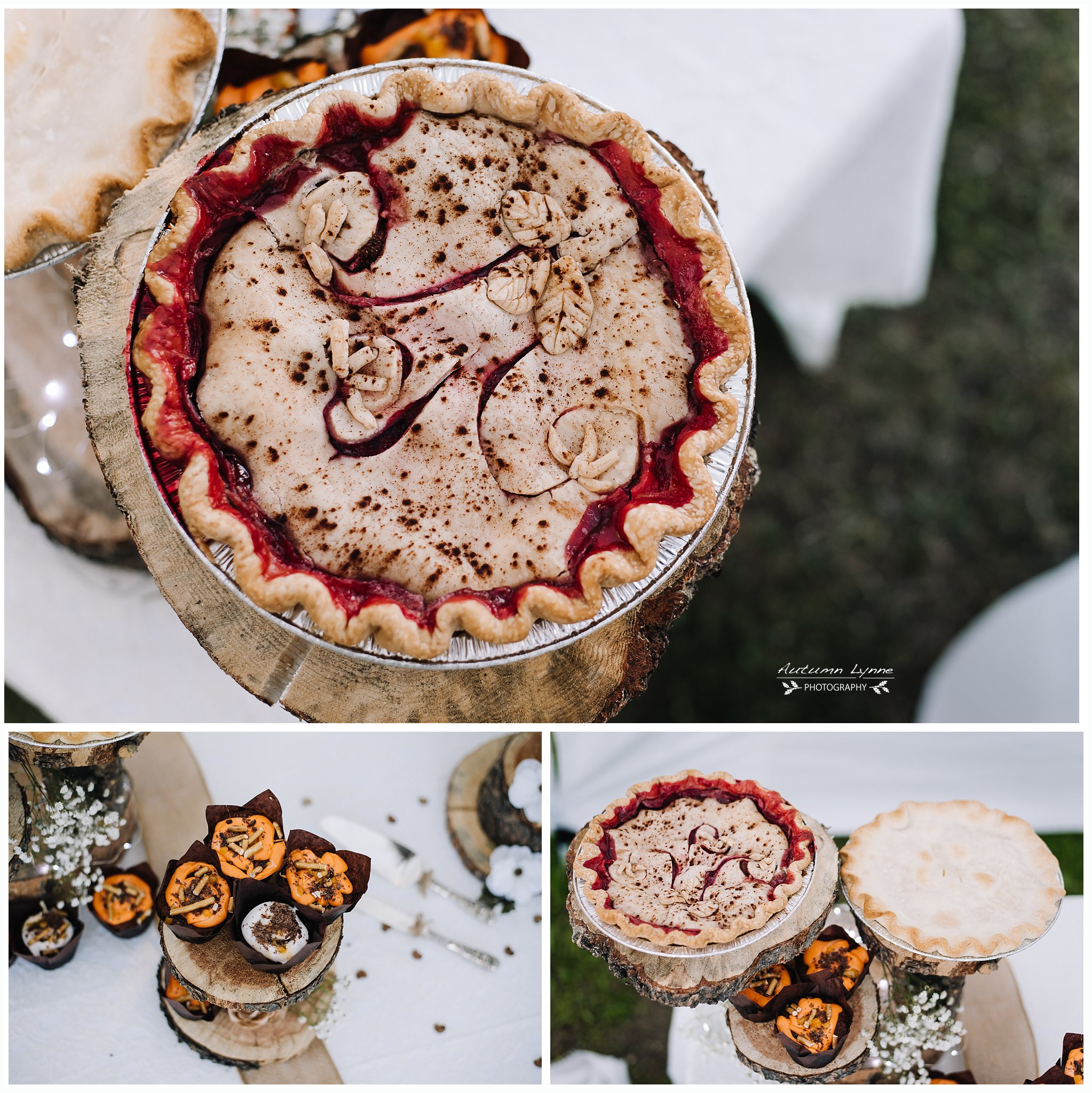 Wedding cake. wedding reception with pies. wedding pies. McCall idaho wedding. wedding photography