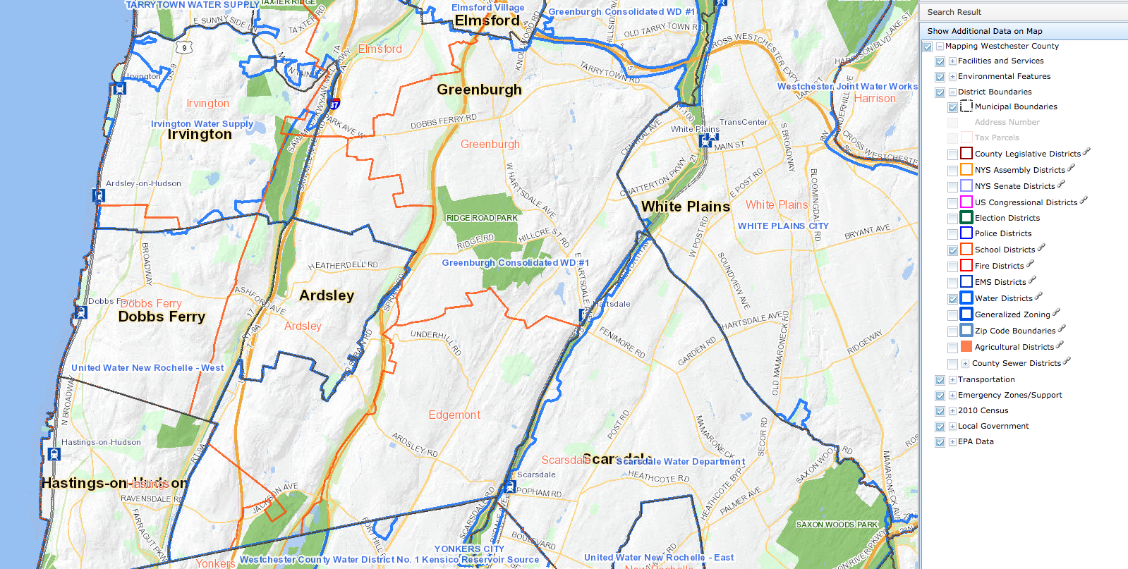 Edgemont is entirely contained by the Greenburgh Consolidated Water District 1. Source: Westchester GIS