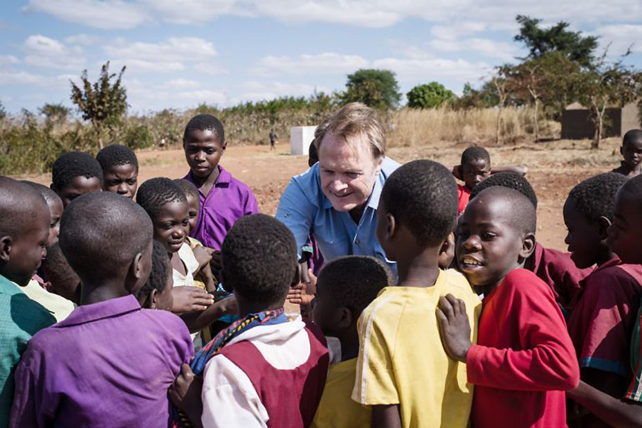 Lawrence in Malawi, for The KIND Fund (Courtesy NBCUniversal)