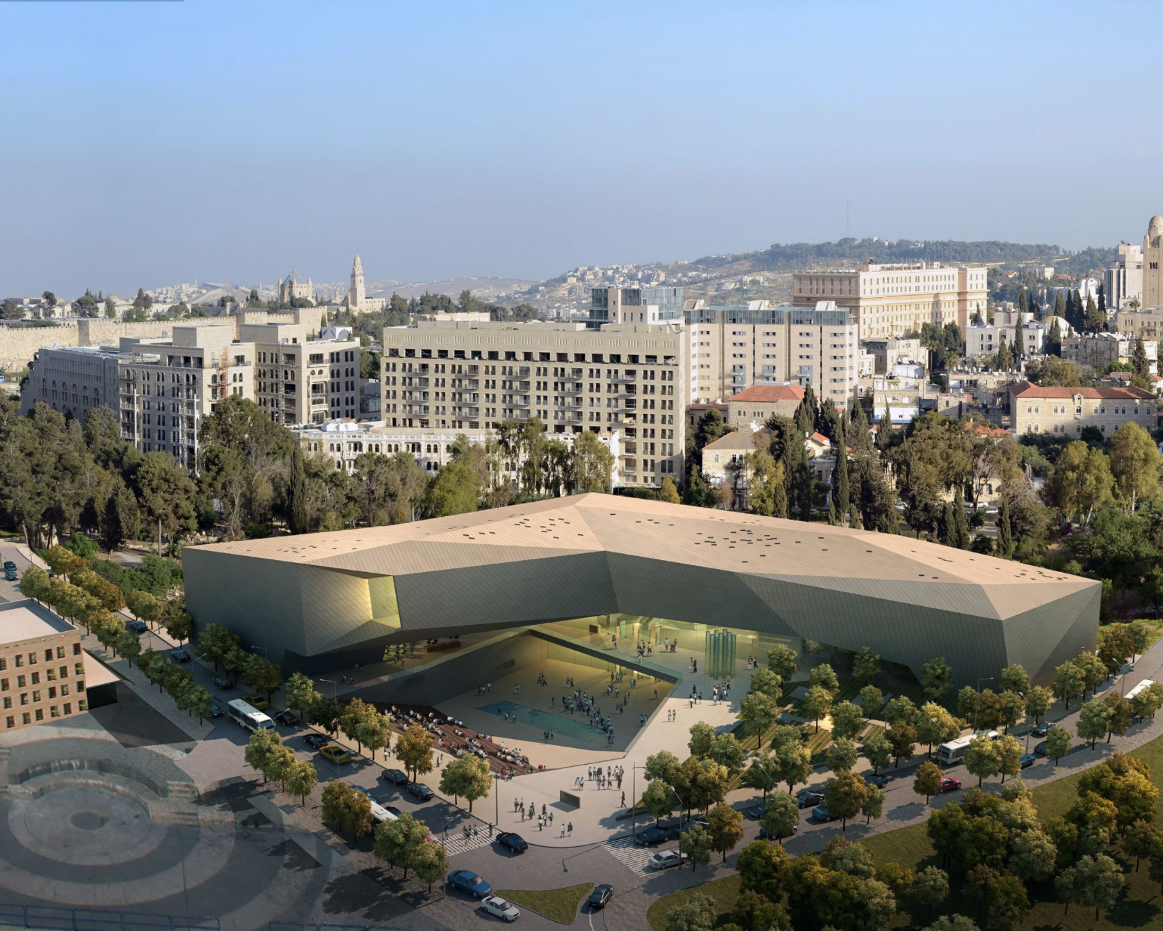 An artist's rendering of the new center of the Museum of Tolerance that will be built in Jerusalem. Credit: Simon Wiesenthal Center