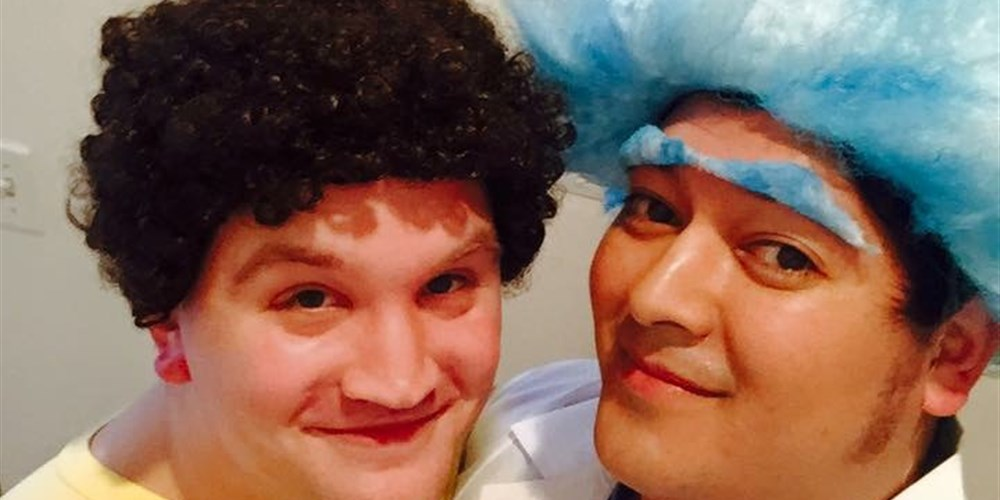 Alex Garcia (right) and his husband, Billy Conwell, dressed up as Rick and Morty for Halloween 2016.