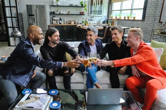"The cast of ""Queer Eye"" on Netflix (L-R) Karamo Brown, Jonathan Van Ness, Tan France, Antoni Porowski and Bobby Berk | Carin Baer / Netflix"