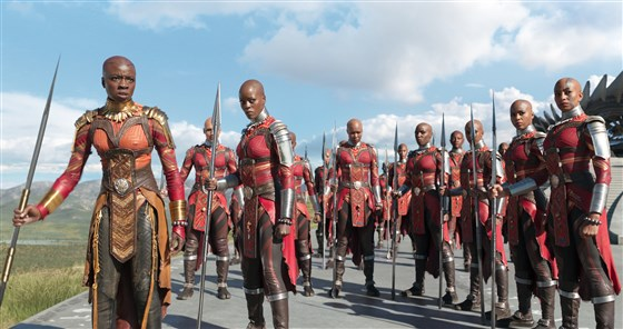 "Danai Gurira as Okoye, left, and Florence Kasumba as Ayo with the Dora Milaje in ""Black Panther.""Elton Anderson / Marvel Studios"