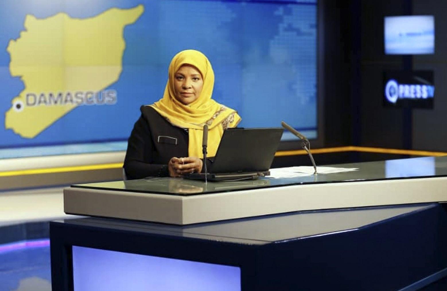 American-born news anchor Marzieh Hashemi at a studio in Tehran, Iran. Press TV via AP