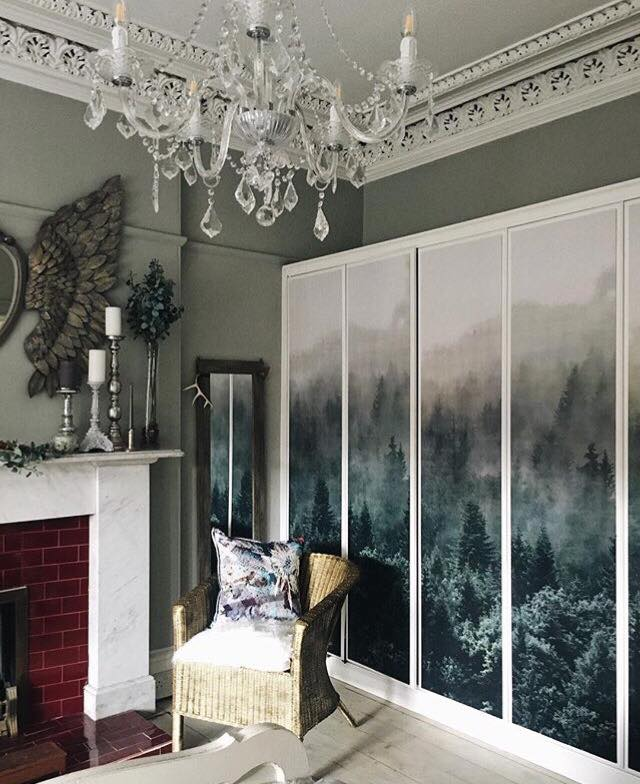 When I saw this I could believe it was an Ikea hack- Fiona from   Around the Houses  used curtain panels fitted to MDF and fixed them to her existing panelled doors to achieve this look. It looks totally bespoke and luxurious.