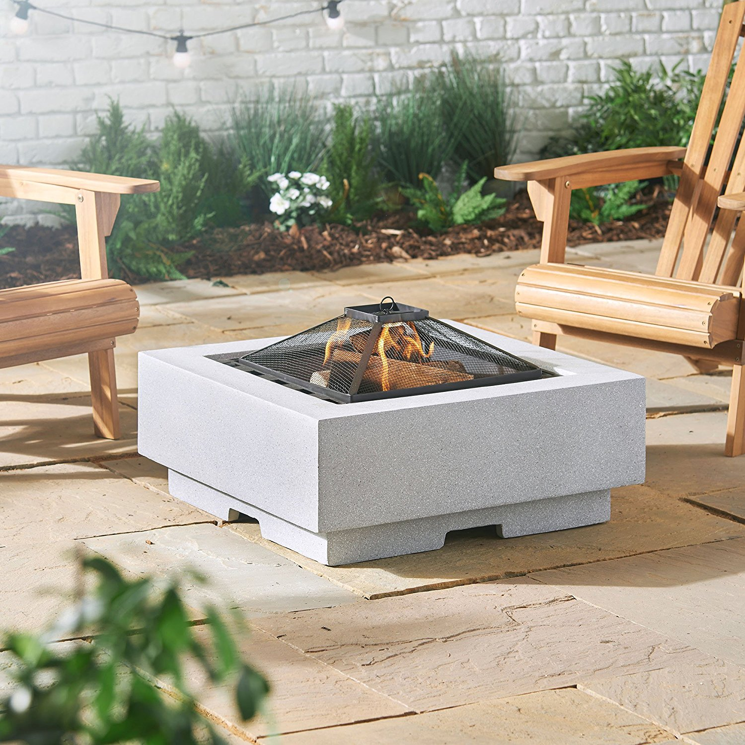 VonHaus Square fire pit and BBQ