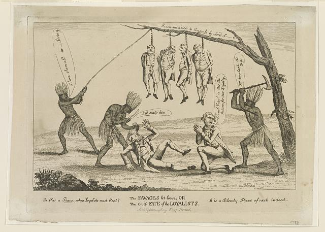 "William Humphrey, ""The savages let loose, or The cruel fate of the Loyalists,"" approx. 1740-1810    Library of Congress Prints and Photographs Division Washington, D.C. 20540"