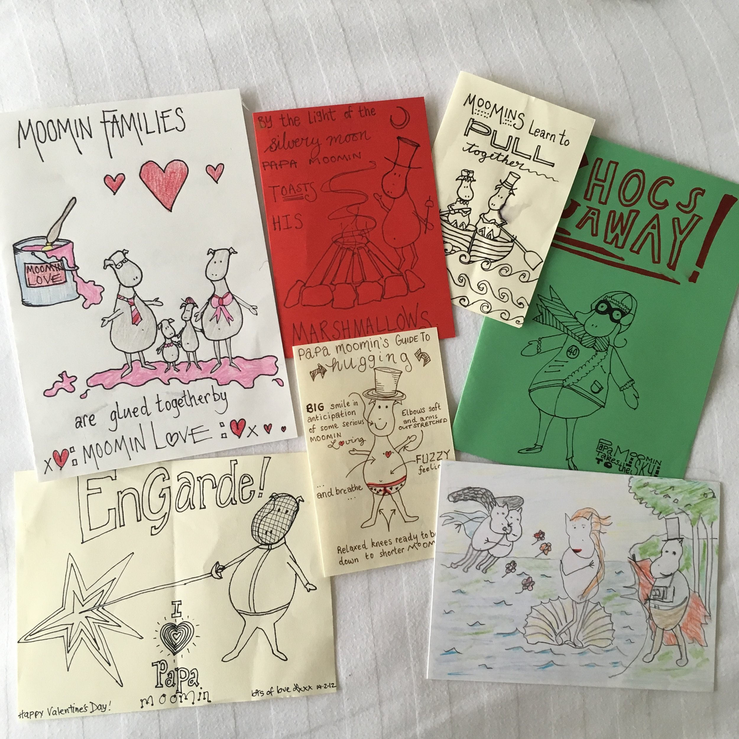 This is a sample of how we do Valentine's Day - Homemade Moomin Cards. Like our family sayings - I have no recollection how we started this but after 16 years we're amassing quite a collection! They no longer look like Moomins but strange creatures that find themselves in a variety of unusual situations.