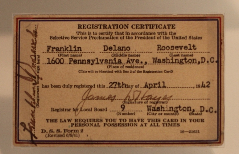FDR's draft card.