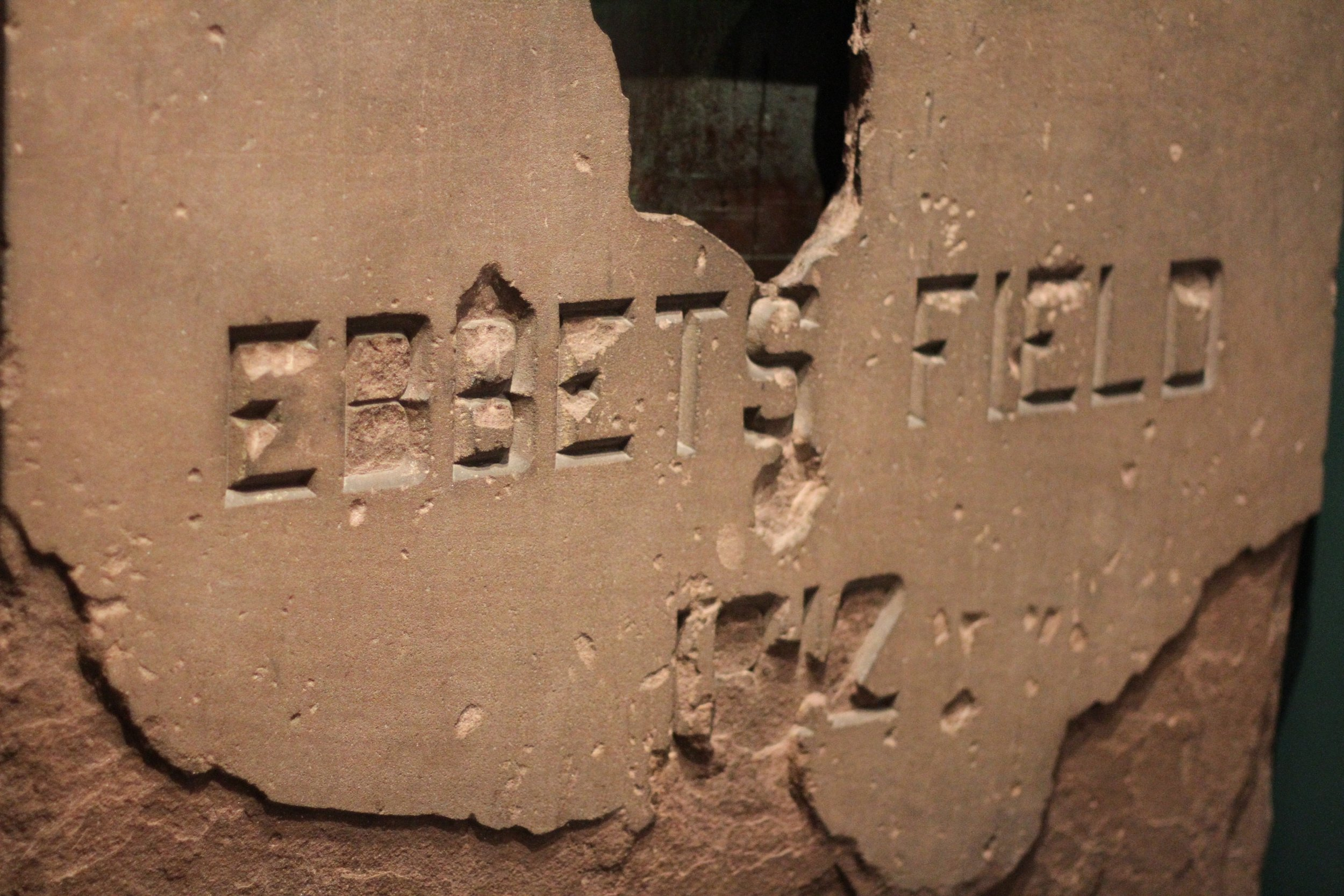 The cornerstone of Ebbets Field - 1912.