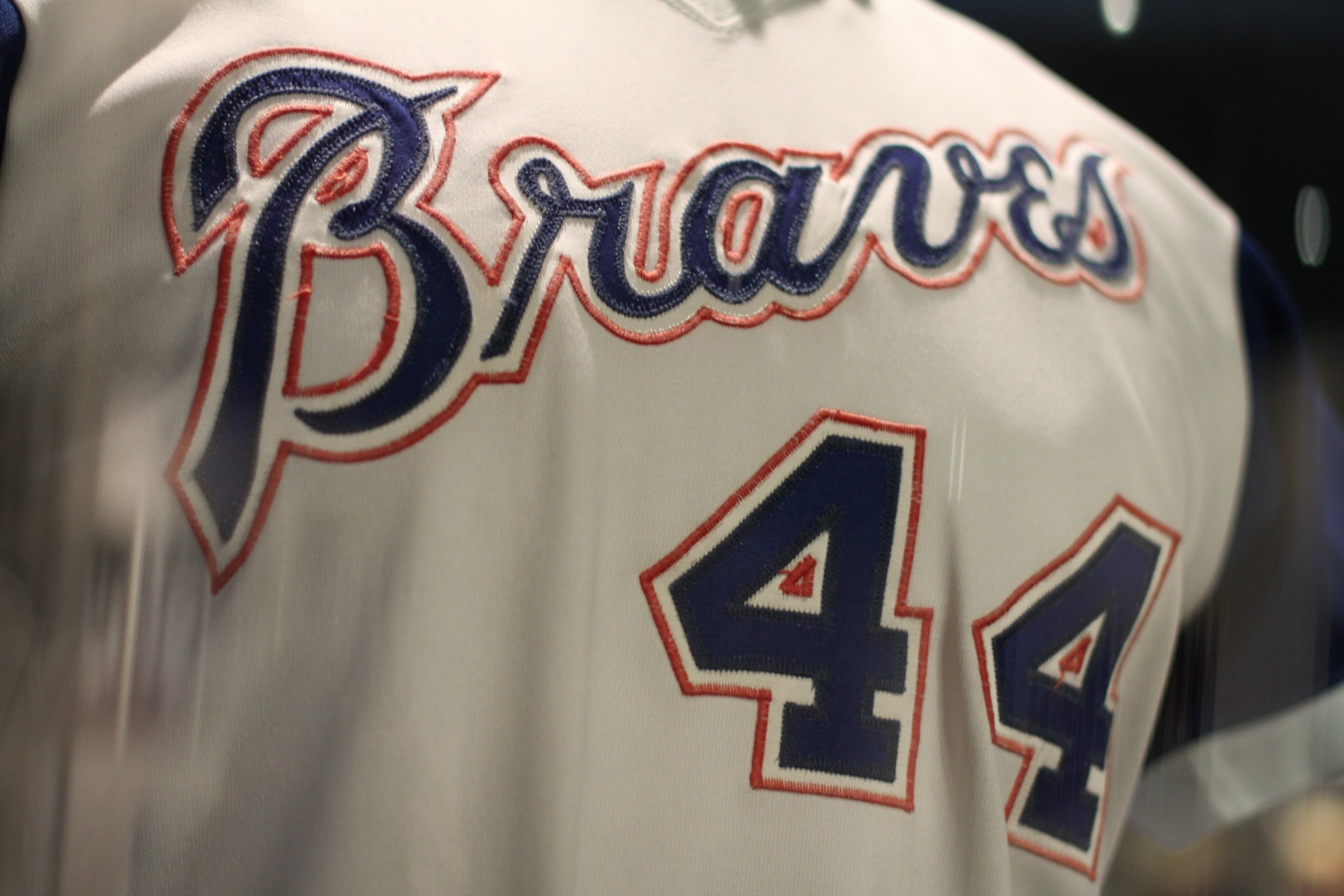 Jersey worn by Hank Aaron when he passed Babe Ruth with 715 career home runs in 1974.