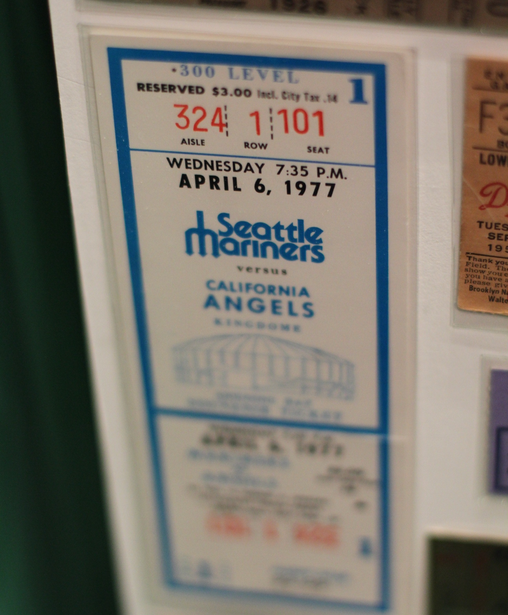 Seattle Mariners inaugural game ticket.