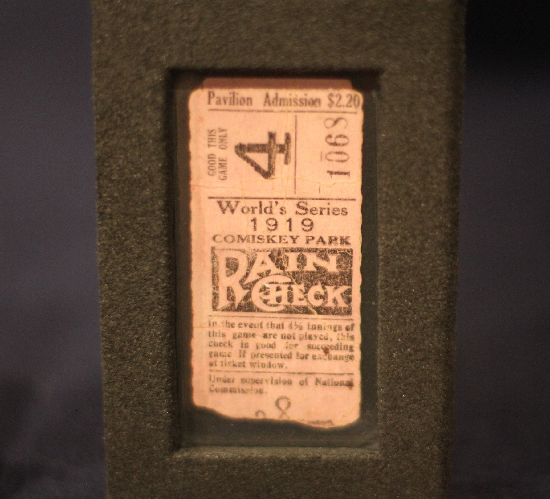 "Ticket to the 1919 ""Black Sox Scandal"" World Series."