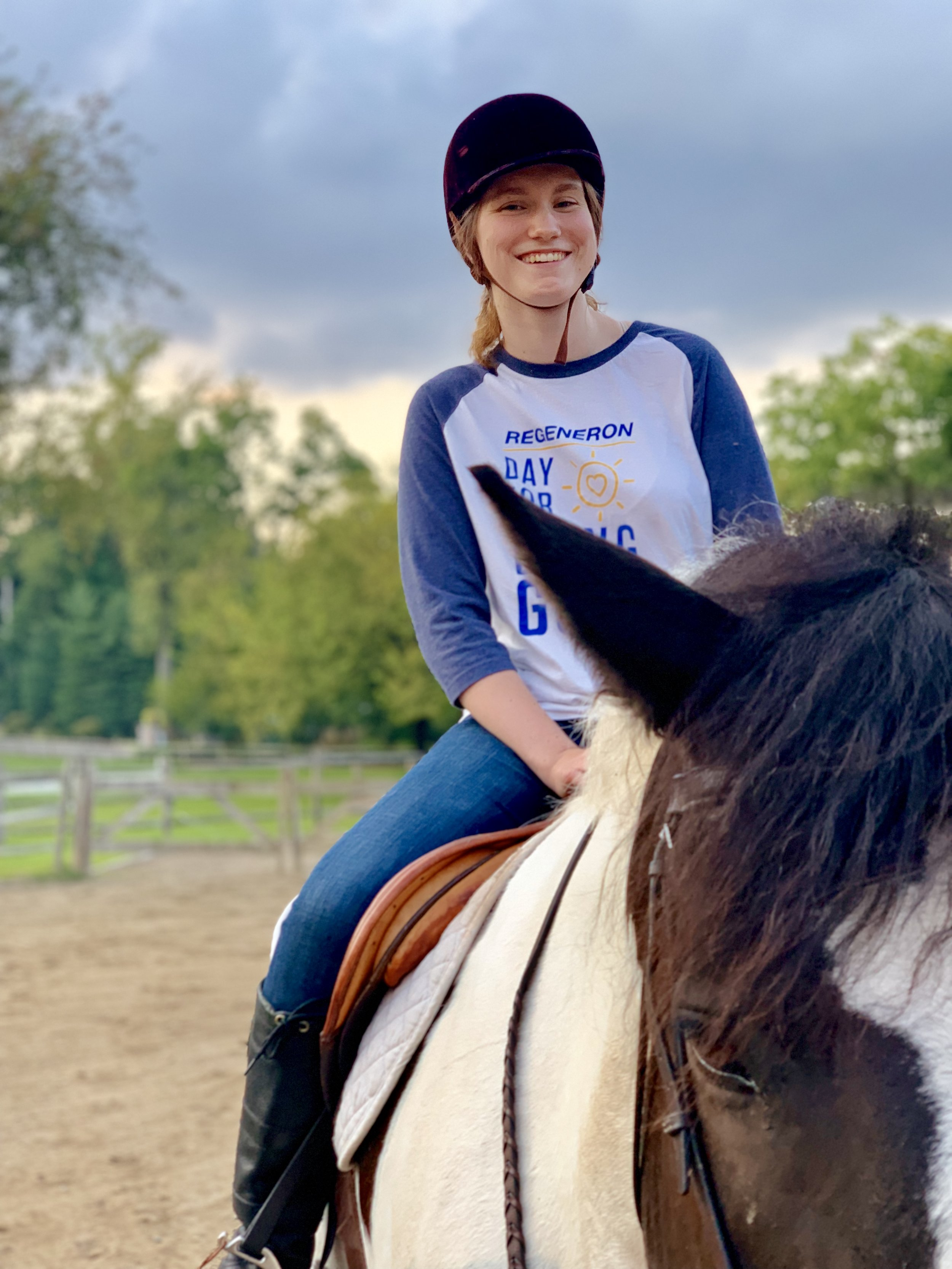 Meet your team! - My name is Catherine and I work on the BST pipeline in the Protein Expression Sciences department at Regeneron. This was the first time I've been on a horse since a middle school field trip and I was a little nervous. Both the trainers and the horses made me feel super comfortable, and the experience overall was great. I plan to go again and will recommend it to any of my coworkers!