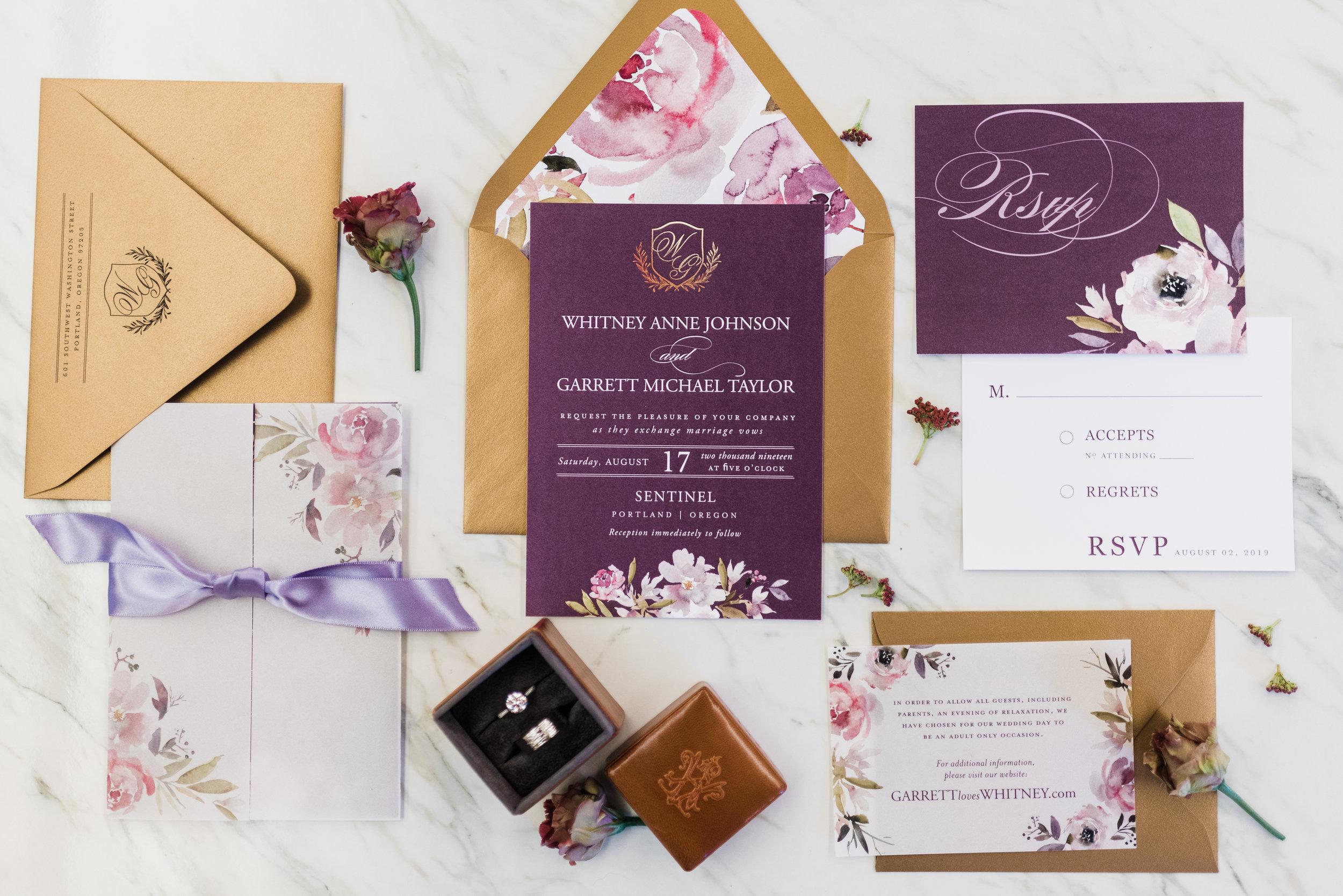 Stationery set for Sentinel Hotel Wedding