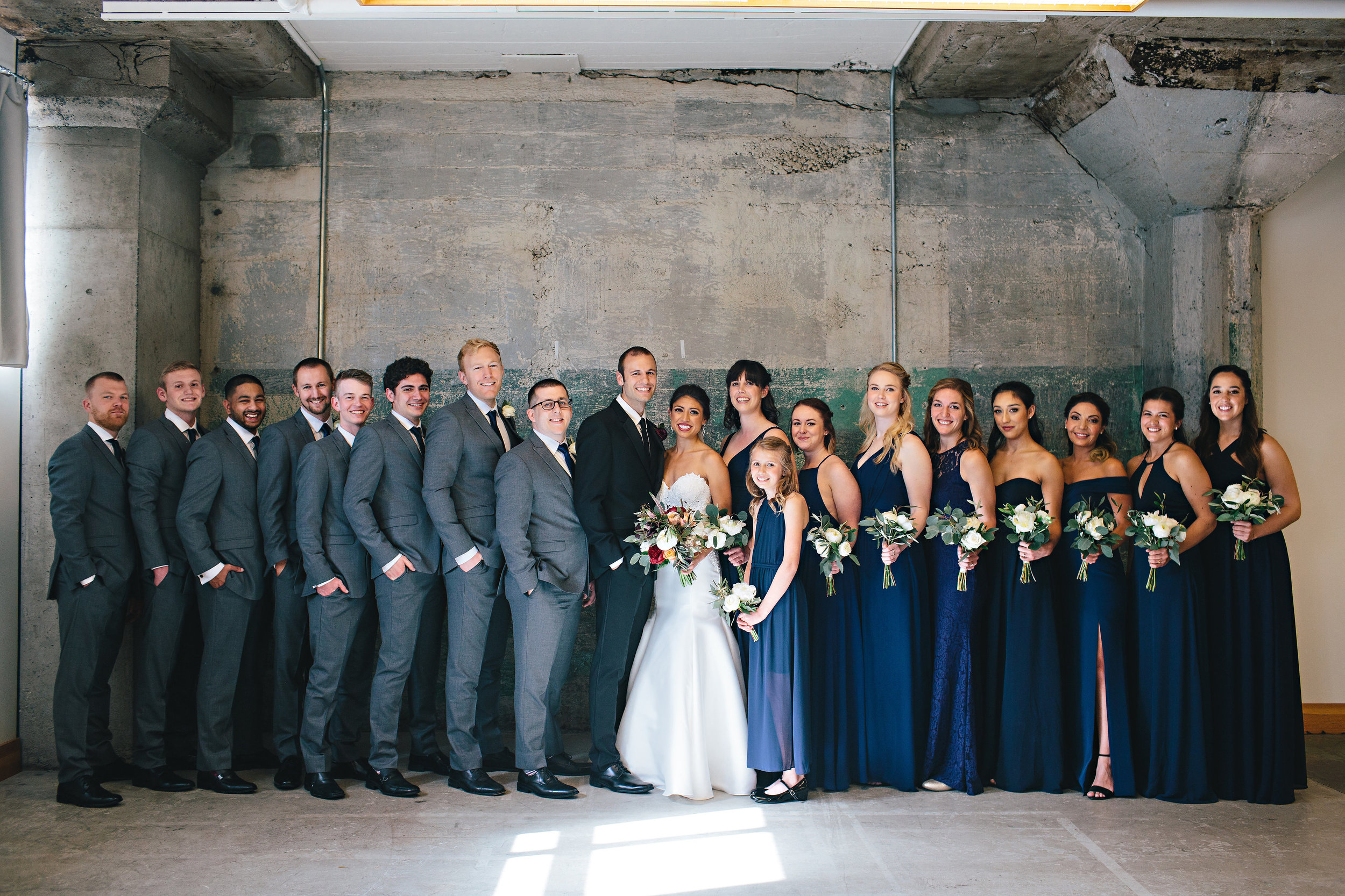 Roshan, Josh, and their bridal party at Leftbank Annex.