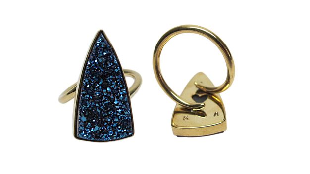 Blue triangular druzy ring in 14k yellow gold. Customized with our customers husband and kid's initials on the bottom as well as a hand-cut heart cut out on bottom of bezel.