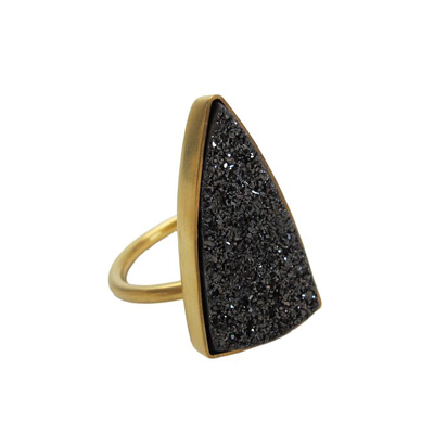 Black triangular druzy ring in 14k yellow gold. Triangle cut out on bottom of bezel and finished off with a satin finish.