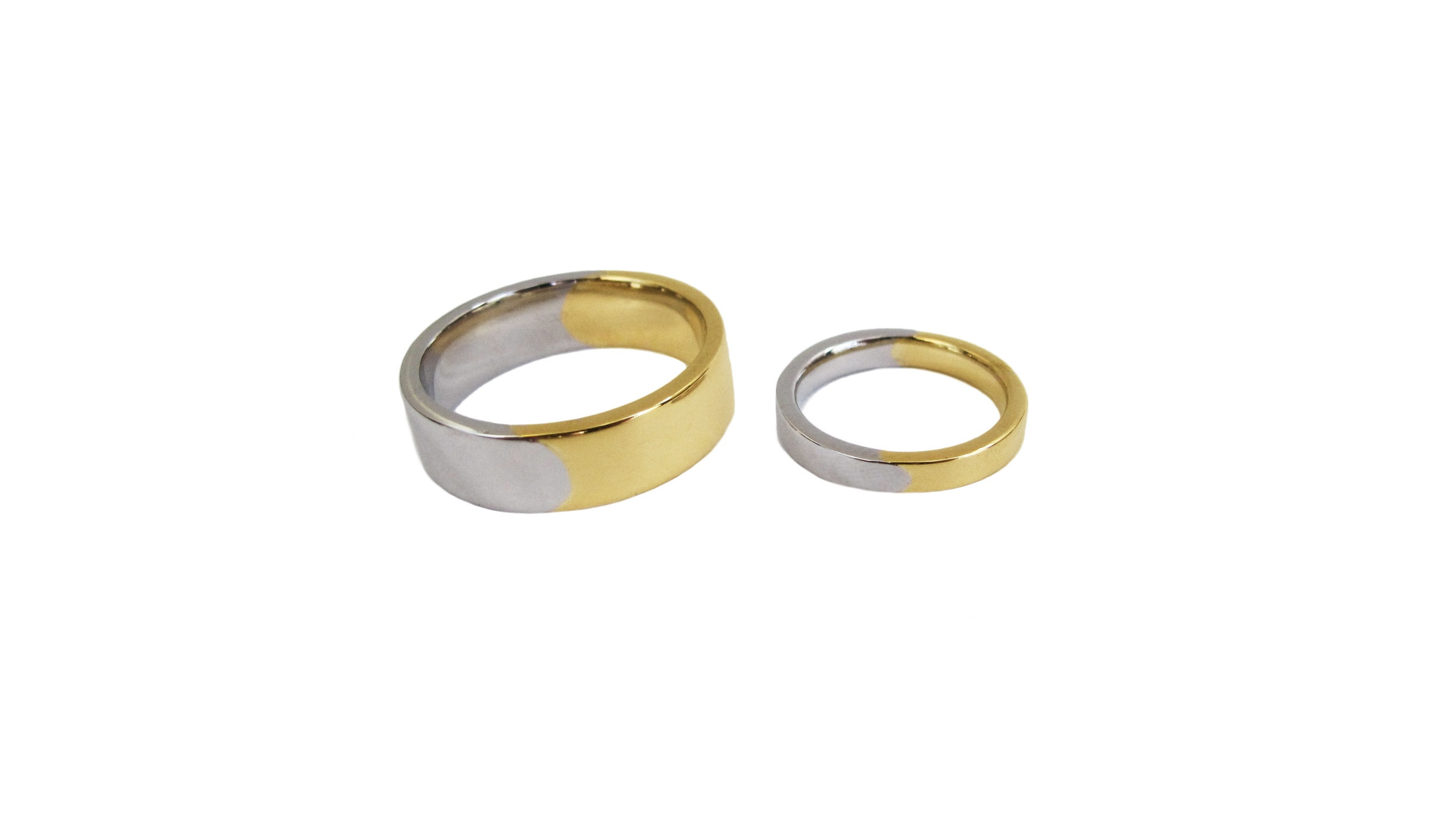 Flat Mixed Metals His + Hers Bands in Platinum & 18k Yellow Gold