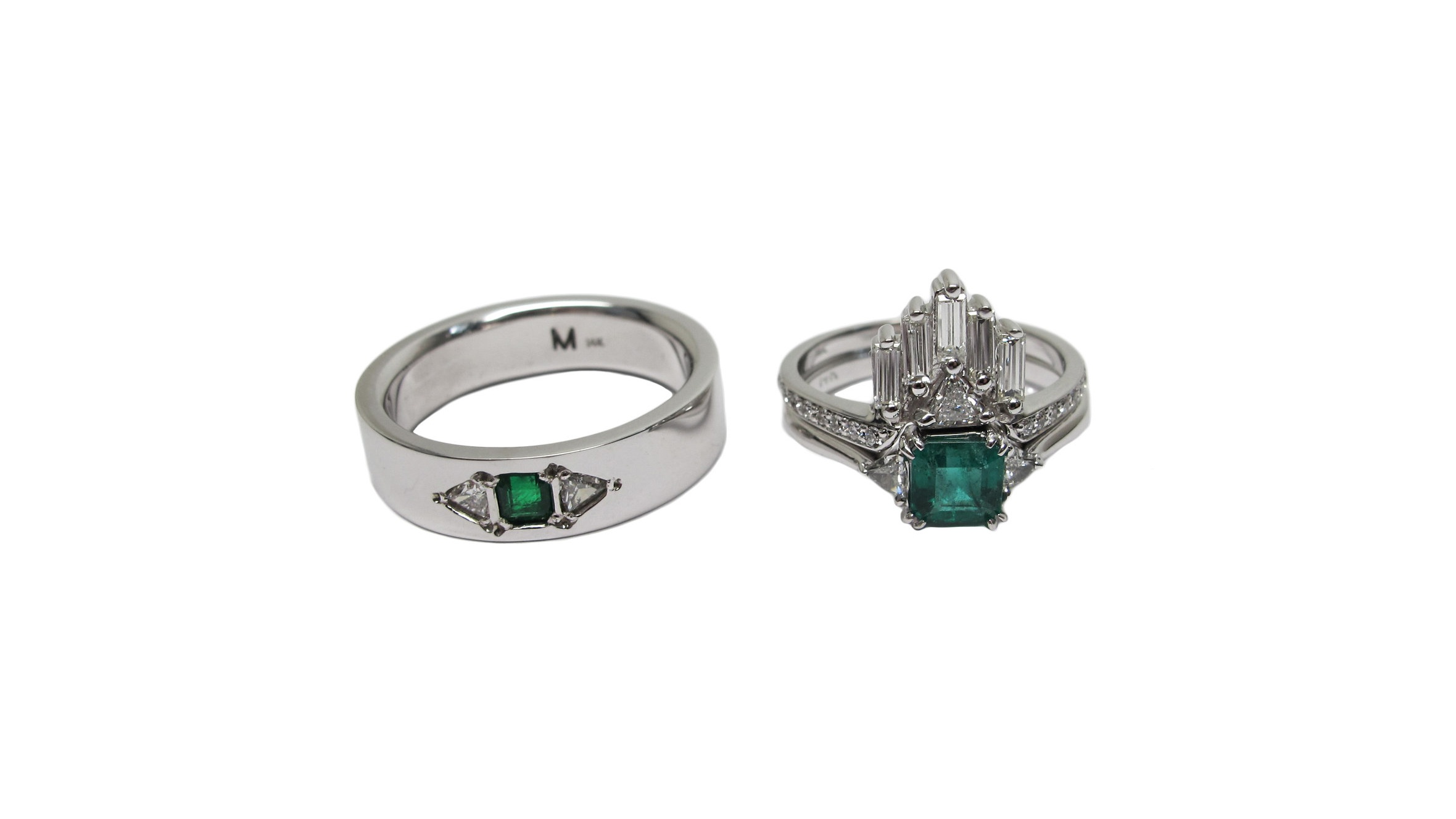 Travis-14k White Gold Flat Band with Emerald Cut Emerald and 2 Trillion Diamonds    Alicia-Wedding and Engagement Ring Set-14k White Gold with Emerald Cut Emerald, Trillions, Baguettes and Micro Pavé