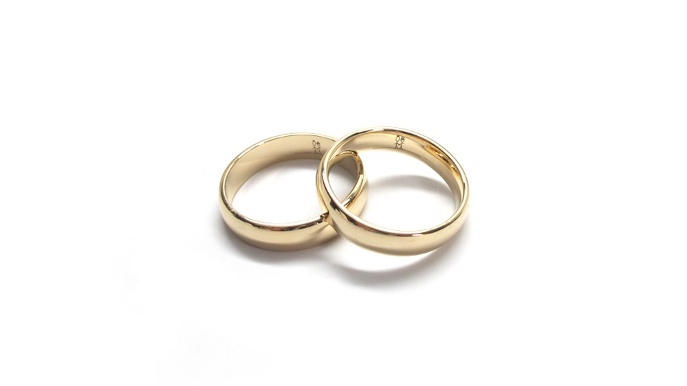 His + His 14k Yellow Gold Low Dome Wedding Bands-5mm