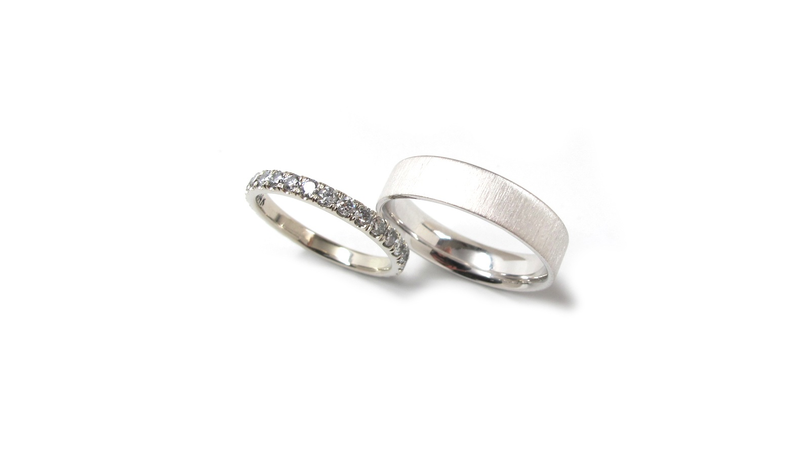 Nikka-Heirloom Diamond Eternity Band-2mm stone size    Dan-14k White Gold Comfort Fit Flat Band with Satin Lined Finish-5mm